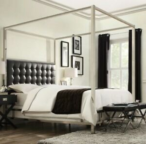 Queen sized canopy tufted bed frame