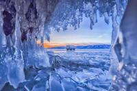 Ice Cave at Lake Baikal Russia at Sunset Photo Art Print Poster 24x36 inch