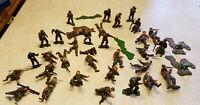 "Vintage Lot 34 World War II Plastic Toy Soldier Marx? Figures 1.75"" Tall"
