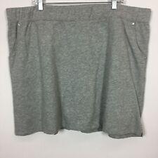 Quacker Factory 2X SKORT Gray Pull On Sweatshirt Fabric Pockets Embellished