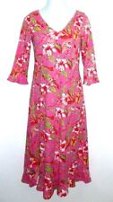 Newport Cotton Dress M Pink Hawaiian Resort Knit 3/4 Sleeve Midi Empire Waist