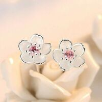 Women's Girls Elegant 925 Silver Pink Zircon Cherry Blossoms Ear Studs Earrings