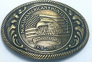 2003 North American Hunting Club 25th Anniversary Brass Belt Buckle