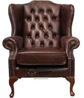 Chesterfield Mallory Queen Anne High Back Wing Chair Old English Brown Leather
