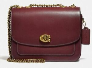 COACH Refined Calf Leather Madison Shoulder Bag Wine Gold