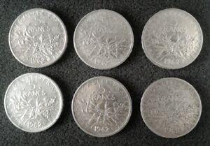 Lot 6 pièces 5 francs Argent semeuse 1962