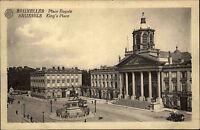 Brüssel Bruxelles Belgien Belgium AK ~1910 Kings Place Royal Straßenbahn Statue