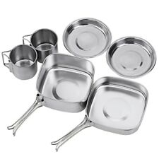 Backpacking Cook pot set Outdoor Stainless-steel Mess Kit Hiking Picnic camping