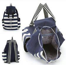 Fashion Womens Canvas Stripe Backpack School Bookbag Travel Satchel Shoulder Bag