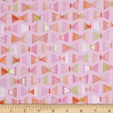 Erin McMorris Highline Flutter Rose Quilting Fabric, pink bows cotton fabric
