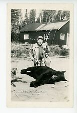 Bow Hunter w Dead Black Bear RPPC Dog Arrow Photo QUEBEC? Ontario? Hunting 1930s