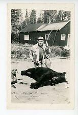 Bow Hunter w Dead Black Bear RPPC Dog Arrow Photo QUEBEC? Ontario? Hunting 1930s