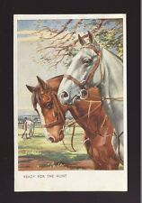 HORSES Artist Whydale Ready for the Hunt Used 1950  PPC pub by Salmon #5085