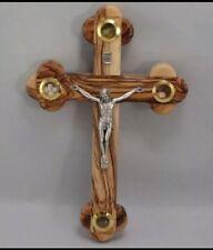 HandMade Olive Wood Crucifix,4 elements of Christ.(Soil,Incense,Rocks,Leaves)
