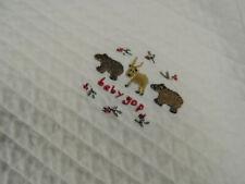 Baby Gap White Quilted Baby Blanket Deer Bear Berries 100% Cotton
