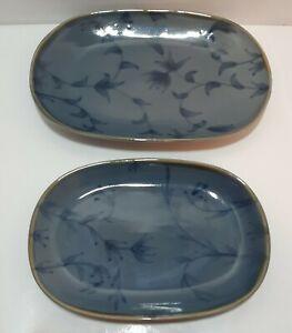 Pier 1 Glazed Stoneware Blue Flowers Olive/Light Brown Trim Serving Trays x2