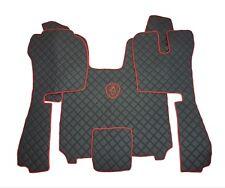 Set RHD Floor Mats For SCANIA R STREAMLINE 2014+ BLACK/RED LOGO Eco Leather.