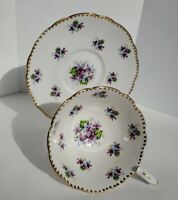 Vintage Royal Stafford Bone China TEACUP & SAUCER MADE IN ENGLAND Sweet Violets