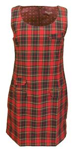 Ladies Retro Mod Red Tartan Pinafore/Tunic Dress