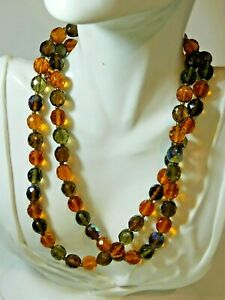 Signed Joan Rivers Gold T Honey Amber Aurora Borealis Glass Beads Long Necklace