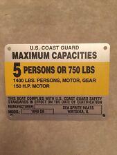 United Marine Corp Boat Capacity Plate~Tag~5 Person~750 Lbs~Sea Sprite~1840 OB