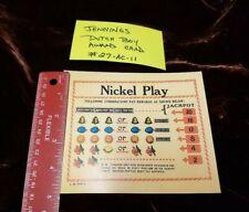 JENNINGS REPRODUCTION DUTCH BOY AWARD CARD FOR ANTIQUE SLOT MACHINE #27-AC-11