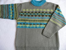 PULL MIXTE MANCHES LONGUES KAKI TRICOTE MAIN 8 ans   comme neuf
