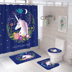 Unicorn Floral Bathroom Rug Set Shower Curtain Thick Toilet Lid Cover Bath Mat
