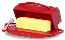 Red Butter Dish Holder Covered Flip Top Lid, Spreader Stick, Fun Kitchen Dining