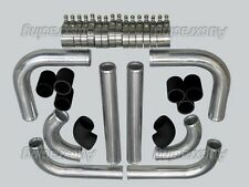 "2.5"" Aluminum Turbo Intercooler Piping Pipe Kit Polished + Black Couplers"
