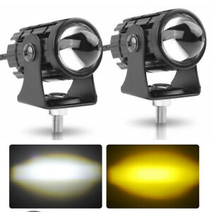 2x 1.2in Motorcycle LED Work Light Pods Auxiliary Driving Fog Amber/ White Lamp