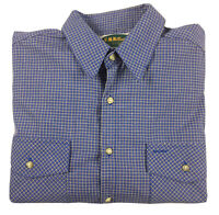 RM Williams Men's Vintage Long Sleeve Blue Check Button Shirt Made in Aus Size L