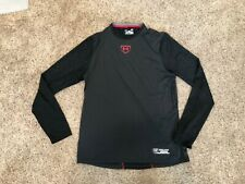 Under Amour Fitted Heat Gear Black Long Sleeve Baseball Shirt Mens Size Large