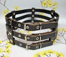Black leather ladies wide BONDAGE WASPIE BELT / HARNESS -  3 buckles. Small S