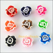 8Pcs Mixed Polymer Fimo Clay White Side Flower Spacer Beads Charms 15mm