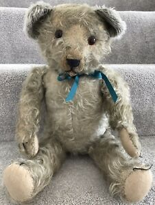 Rare Antique Vintage Blue Tufty Mohair Jointed Teddy Bear C.1940/50s