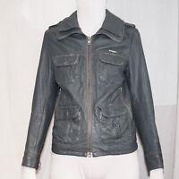 SUPERDRY Mens Designer Leather Brad Jacket Size Small 9742