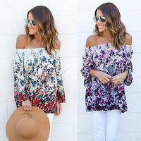 Oversized Womens Off Shoulder Blouse Floral T-Shirt Long Sleeve Casual Beach Tee