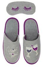 "Dearfoams ""Wine Time"" Gray/Purple Novelty Pile Scuff Slippers with Eye Mask"