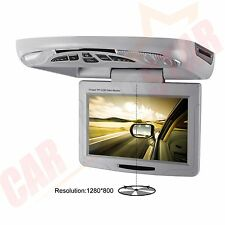 """Car Roof Mounted Flip Drop Down 11.3"""" CD DVD Player USB Games AUX LED Light Grey"""