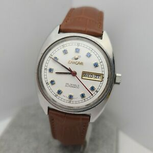 Vintage ENICAR Men's automatic watch 25 Jewels date/day swiss made 1970s