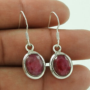 Oval Shape Natural Ruby Gemstone Earrings 925 Solid Sterling Silver Jewelry H1