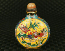 cloisonne Two mandarin ducks were tumbling merrily in water snuff bottle statue