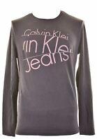CALVIN KLEIN Mens Graphic Top Long Sleeve XL Black Cotton Slim Fit  BD09