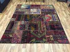 Patchwork Teppich Vintage Handgeknüpft Kurzflor modern Design 244x199 cm Nr.2109
