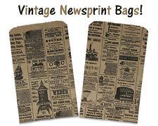 100 6x9 Newspaper Paper Kraft Bags,Vintage, Rustic Style Newsprint Favor Craft