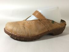 El NaturaLista Leather Mary Jane Clog Mules Womens 8 M EU 39 Tan Brown Shoe Work