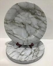 "Melamine Round Dinner 10"" Plates Set Of 4 Silver Swirl Gray Granite Look"