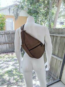 LL Bean Healthy Back Ameribag Traveler Shoulder Back Sling Bag Tan Nylon