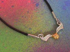 Unisex Harry Potter Quidditch Golden Snitch Pendant & Black Cord Necklace